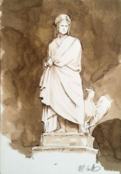 Dante in Piazza Santa Croce, ink and wash on paper, 12cm x 18cm by Matthew James Collins