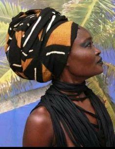 African mudcloth head wrap.