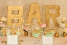 Mint and Gold Wedding Inspiration from Simply by Tamara Nicole Decoration Table, Reception Decorations, Event Decor, Dusty Blue, Mint Gold Weddings, Orange Weddings, Cocktails Bar, Drinks, Colorful Party