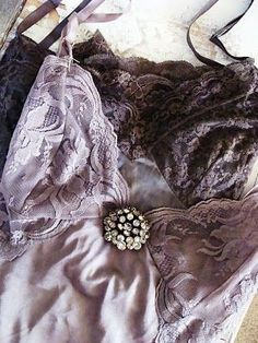 plum necessities with vintage brooch