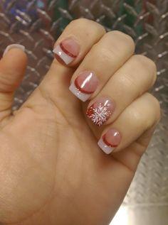 My Christmas nails for this year 🎄 - French Nail Designs - Christmas Gel Nails, Christmas Nail Art Designs, Holiday Nails, Nail Tip Designs, French Nail Designs, Dipped Nails, Get Nails, French Nails, Beauty Nails
