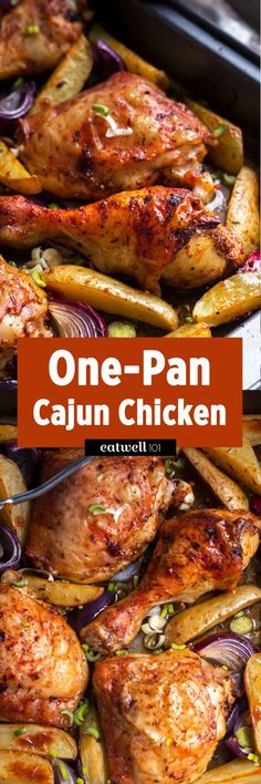 One-pan cajun chicken & potatoes, a simple and delicious dinner idea the whole family will love. Just toss everything in the baking dish with seasoning & roast to absolute crisp perfection!…(Baking Chicken One Pan) Cajun Chicken Recipes, Baked Chicken, Chicken Milk, Prawn Recipes, Cajun Food, Chicken Alfredo, Chicken Pasta, Chicken Salad, Grilled Chicken