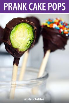 pranksgiving shares how you can trick your friends and family with these prank cake pops made with brussel sprouts covered in chocolate. #Instructables #AprilFools #gag April Fools Pranks, Cake Pops, Cakepops, Cake Pop, April Fools Day, April Fools, Stick Candy