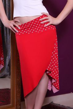 conDiva Wrap-effect Red Jersey Tango Skirt