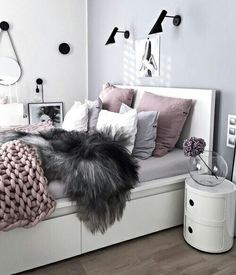 Teen bedroom themes must accommodate visual and function. Here are tips to create the coolest teen bedroom. Gray Bedroom, Home Bedroom, Bedroom Decor, Bedroom Themes, Bedroom Inspo, Bedroom Ideas Purple, Teen Bedroom Colors, Bedroom Chair, Bedroom Furniture