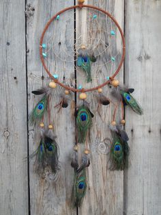 Hand Made Dream Catcher With Real Peacock Feathers   | eBay