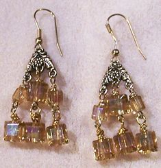 Yellow Chandelier Earrings  Stunning Handmade by JewelryArtistry, $25.00
