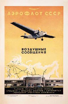 Aeroflot vintage airline poster