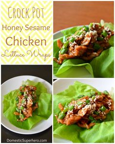 Crock Pot Honey Sesame Chicken Lettuce Wraps - low calorie and so easy!