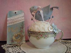 tea cup pincushion   by lauriescharmingdesigns