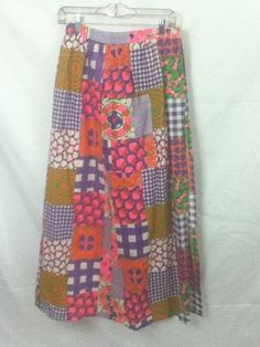 Montgomery Ward 1960s MCM  Vtg Hippie Boho Patchwork Pink Wrap Skirt Small  #Mont #Casual