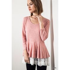 """""""Venetian Romance"""" Lace Hem Long Sleeve Top Gorgeous lace hem long sleeve top. Goes amazing with all pants, denim and leggings. The beautiful lace hem gives a girly touch to every outfit. Brand new without tags. Available in three colors: coral, ash and tan. No trades Bare Anthology Tops"""