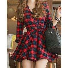 Wholesale Casual V-Neck Long Sleeve Plaid Lace-Up Women's Dress Only $7.67 Drop Shipping | TrendsGal.com