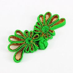 20set Green with Gold Chinese Frog Closure Knot Fastener Buttons Braided Floral Craft Handmade DIY Sewing Accessories K250 -- For more information, visit image link.