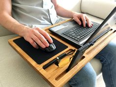 woodworking - Lap desk Oak wood laptop stand Portable laptop desk with slots for Mac and iPhone Mobile workstation Wooden computer stand Laptop tray gift Portable Laptop Desk, Laptop Tray, Imac Laptop, Portable Workstation, 17 Laptop, Wood Projects, Woodworking Projects, Woodworking Books, Woodworking Forum