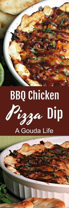 BBQ Chicken Pizza Dip ~ tender tasty bites of barbecue chicken, 3 kinds of gooey, melted cheese, bell peppers and red onion all scooped with warm, lightly toasted bread.