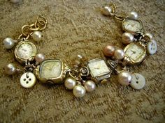 Vintage Jewelry Art Vintage watch face bracelet, just love this idea. I have so many watches with broken bands, this would be a way to use them all. Vintage Jewelry Crafts, Recycled Jewelry, Jewelry Art, Beaded Jewelry, Jewelry Accessories, Handmade Jewelry, Jewelry Design, Silver Jewelry, Jewelry Ideas