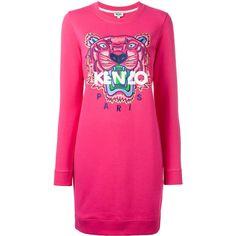 Kenzo Tiger sweatshirt dress ($355) ❤ liked on Polyvore featuring dresses, pink, kenzo, longsleeve dress, sweatshirt dresses, pink dress and embroidered cotton dress