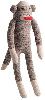 Multipet Plush Dog Toy - Sock Monkey - Gray - Medium
