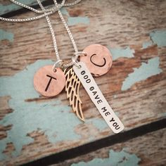God Gave Me You Necklace, Family Necklace with Initials, Angel Wing, Mother's Necklace, Mommy Jewelry, mixed metals #PersonalizedJewelry #AngelWingNecklace #NewMommyNecklace #AngelWingJewelry #AdoptionGift #AdoptionNecklace #AnniversaryGift #NewGrandmaNecklace #GodGaveMeYou #EngagementGift
