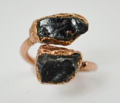 Blood Red Garnets electroformed in copper in an adjustable 2 stone ring.  By Alaridesign.com