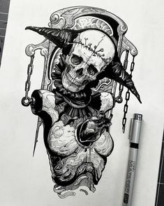 Badass Drawings, Dark Art Drawings, Demon Tattoo, Dark Tattoo, Creepy Tattoos, Skull Tattoos, Arte Horror, Horror Art, Grimes Artwork