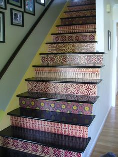 I finished!  Yes, these are my stairs.  I have never done any crafts nor artwork before.  I was inspired by Melanie Royals designs and able to do this via her stencils (many of her staircases are on my board Staircase Obsessions).  Have finishing touches to do, but... am thrilled!