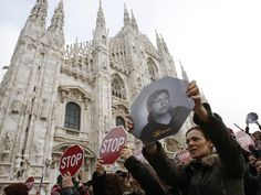 Demonstrators rally to protest violence against women in a march in Milan, Italy, in November 2009. This year, more than 100 women in Italy have been killed by their male partners.