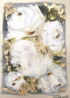 Acrylic Flowers, Abstract Flowers, Diy Canvas Art, Acrylic Painting Canvas, Naive Art, Painting Inspiration, Flower Art, Artwork, White Roses