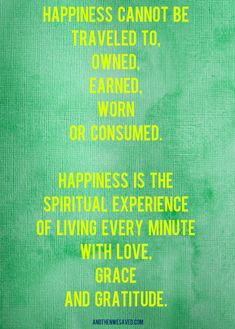 Happiness Cannot be Owned, Earned, Worn, or Consumed…