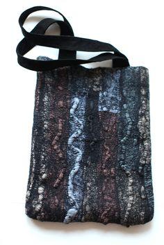"https://flic.kr/p/8XAwvp   Nuno Felted Bag   Australian merino wool, ponge silk fabric, magnet snap, recycled suede. Two pockets inside. Height 14 1/4"" (36 cm) Width 11 1/2"" (29 cm) Length of handles 22 1/2 (57 cm)"