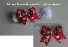 Minnie Mouse Bow, interchangeable with a crochet headband