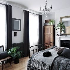 Hey guys, how's your week going? It's been ages since I shared a before ... #before #cozybedroomcolors #going #shared #since Dark Cozy Bedroom, Dark Master Bedroom, Guy Bedroom, Wood Bedroom, Dream Bedroom, Bedroom Inspo, Bedroom Simple, Bedroom Decor, Black Curtains Bedroom