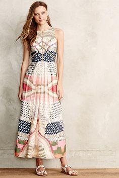 Geoscape Applique Petite Maxi Dress - anthropologie.com