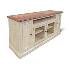 This is our popular Laredo Entertainment Console made into a tallboy version, its big on function with plenty of storage and looks great while complimenting any room in your home. Shown in Natural Patina top and Weathered Ivory Base with wire doors  Laredo Entertainment Console VMW1092-Tallboy 60 wide x 19 deep x 36 high open component area, 2 media doors w/ shelf, 2 center door w/ shelf available with wire, glass or wood paneled doors  Vintage Mill Werks is a small family run Boutique…