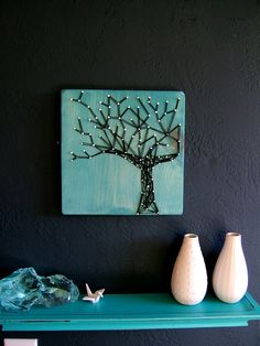 beautiful string art :: great colors I would paint the nails green on the branches So its more like leaves