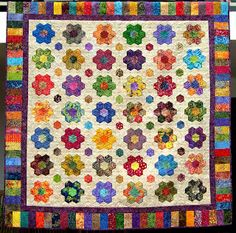 "Carol from Panama made this hexagon quilt using the 1.5"" hexagons shape collection."
