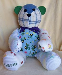 Custom Patchwork Teddy Bear made from outgrown baby items