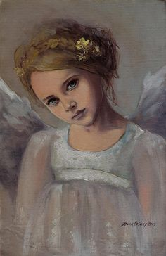 Fantasy Art Print featuring the painting Reading Into Your Soul by Dorina Costras I Believe In Angels, Ange Demon, Painting Of Girl, Soul Art, Guardian Angels, Arte Pop, Art Themes, Angel Art, Christmas Angels