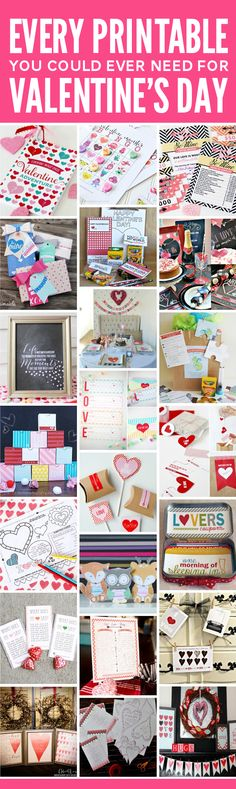 One Handy Pack with EVERY printable you could ever need or want for Valentines Day at PagingSupermom.com  #valentines My Funny Valentine, Valentines For Kids, Happy Valentines Day, Valentine Day Crafts, Valentine Ideas, Printable Valentine, Free Printable, Homemade Valentines, Love Coupons
