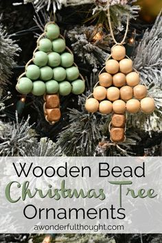 DIY Ornament Wooden Bead Christmas Tree Welcome to the 12 days of Christmas! Today I am sharing this DIY ornament wooden bead Christmas tree. It is an easy, adorable project to add to your tree! Diy Xmas, Handmade Christmas, Christmas Crafts, Halloween Crafts, Wooden Christmas Trees, Beaded Christmas Ornaments, Diy Ornaments, Diy Christmas Tree Decorations, Angel Ornaments