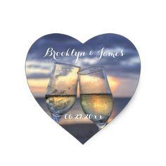 Custom Heart Sunset On The Beach Wedding Stickers