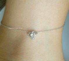 Diamond Anklet silver diamond jewelry minimalist by AngelsCrown