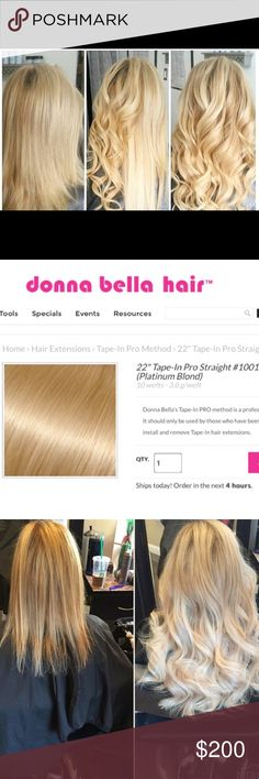 "Donna Bella 22"" Tape In Pro Straight extensions 4 packs (10 wefts each) worth of Donna Bella 100% pure human remy hair. These extensions are 22"" long in platinum blond #1001.  Installation in as little as 30 minutes. Very easy application and removal process.                             Donna Bella Tape not included                                Original Price: $92 per pack + tax Donna Bella Accessories Hair Accessories"