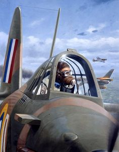 Battle of Britain, British Fighter Pilot, Convention box art, by Larry Selman Ww2 Aircraft, Fighter Aircraft, Military Aircraft, Fighter Jets, Fighter Pilot, Mustang, Hawker Hurricane, War Thunder, Airplane Art