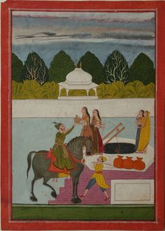 A Beautiful Young Lady Offers A Prince Water. Opaque watercolour with gold on wasli, Bundelkhand, Central India, ca. 1770-80, This subject of a prince on horseback stopping to ask to drink at a village well with unattended village girls filling pots with water was popular in Mughal and Rajput painting.