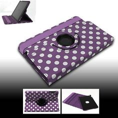 FOR NEW APPLE IPAD MINI CASE COVER SWIVEL STAND POUCH PU PURPLE AUTO WAKE SLEEP