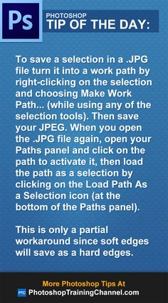 To save a selection in a .JPG file turn it into a work path by right-clicking on…