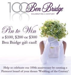 Three winners will be selected on May 1st from a random drawing. Visit this link for official contest rules: www.benbridge.com/social/pin-to-win.