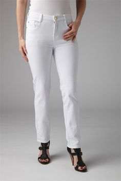 "WHITE DENIM STRAIGHT LEG 31"" JEAN - The ultimate smart denim jean with zip fastening and patch pockets. The fabric contains stretch making them comfortable to wear. Designed to fit on the natural waist."
